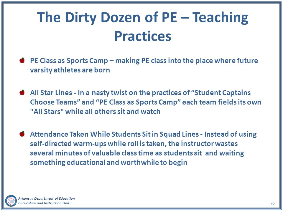 The Dirty Dozen of PE – Teaching Practices