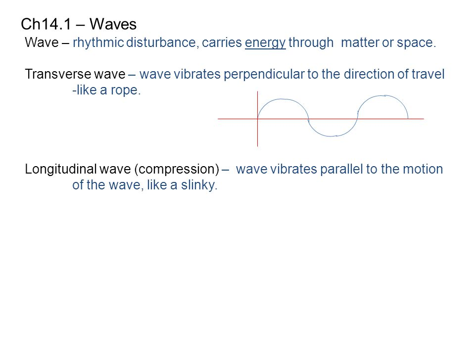 Ch14.1 – Waves Wave – rhythmic disturbance, carries energy through matter or space.