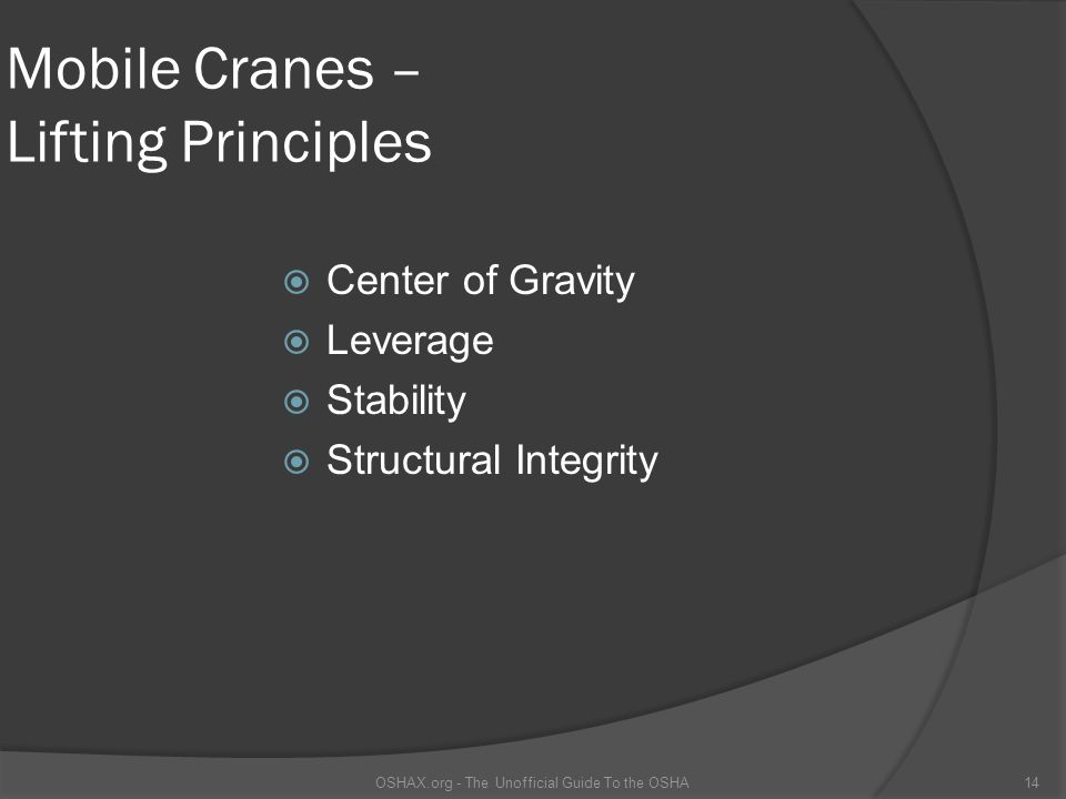Mobile Cranes – Lifting Principles