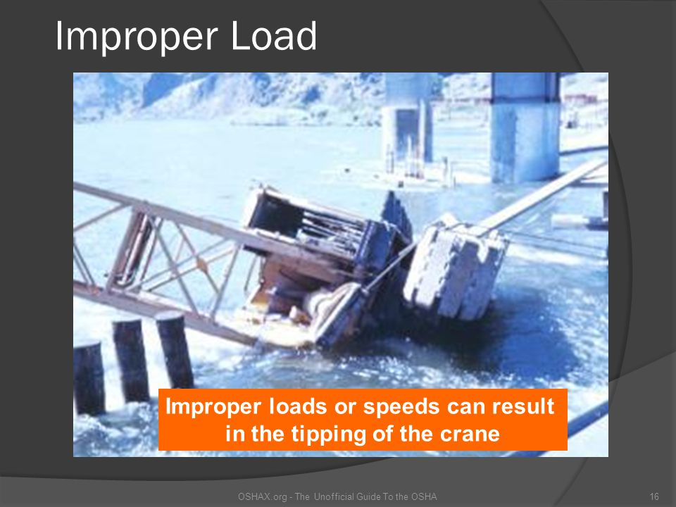 Improper loads or speeds can result in the tipping of the crane