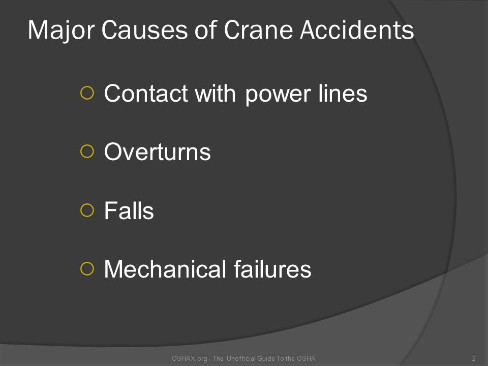 Major Causes of Crane Accidents