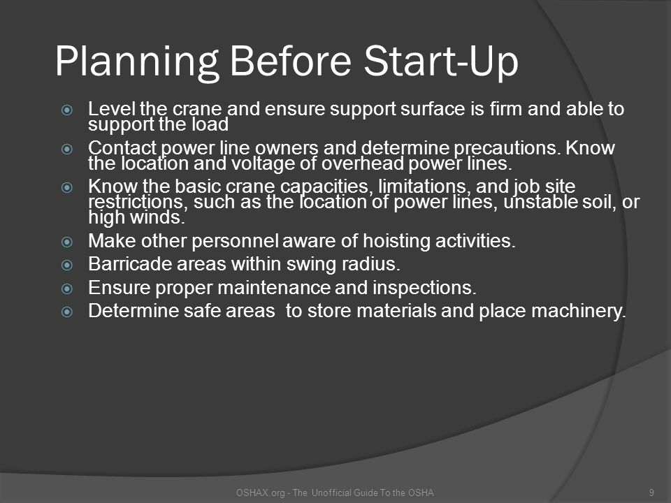 Planning Before Start-Up