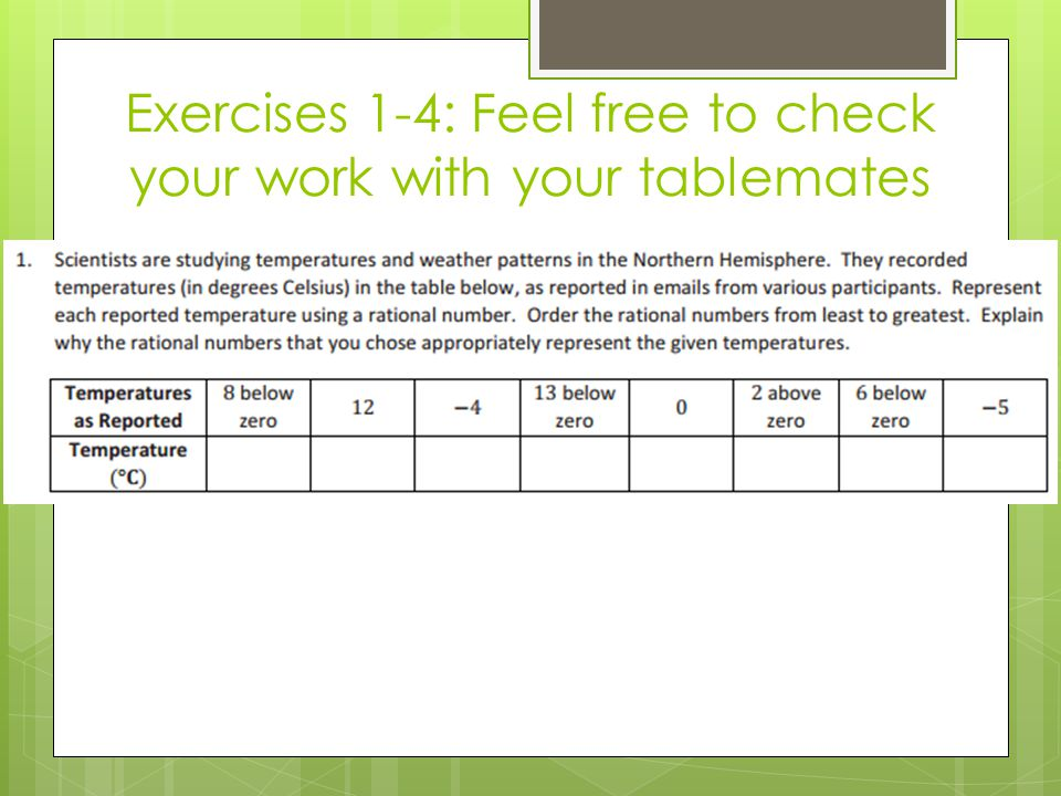 Exercises 1-4: Feel free to check your work with your tablemates