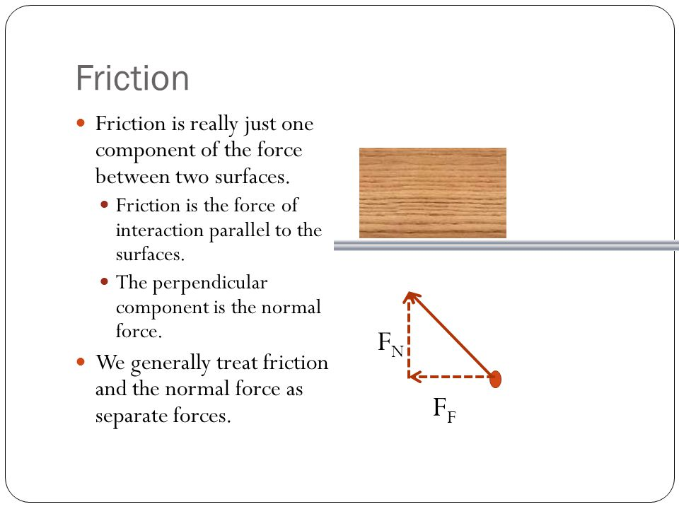 Friction Friction is really just one component of the force between two surfaces. Friction is the force of interaction parallel to the surfaces.