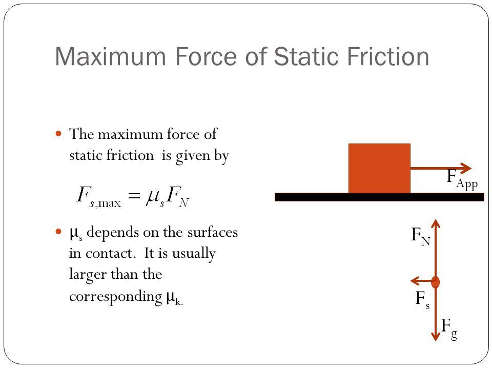 Maximum Force of Static Friction
