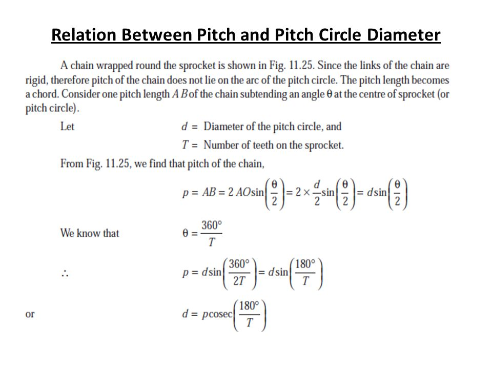 Relation Between Pitch and Pitch Circle Diameter