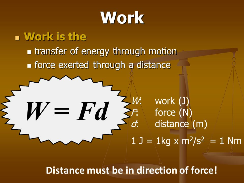Distance must be in direction of force!
