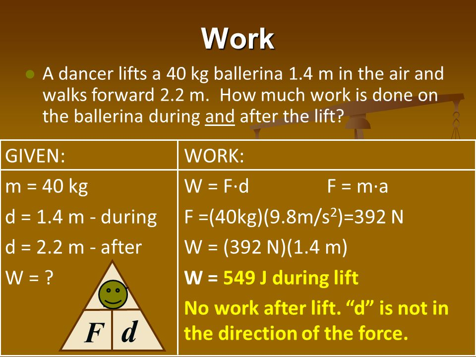 d Work W F GIVEN: m = 40 kg d = 1.4 m - during d = 2.2 m - after W =