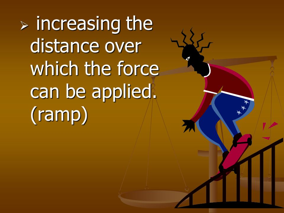 increasing the distance over which the force can be applied. (ramp)