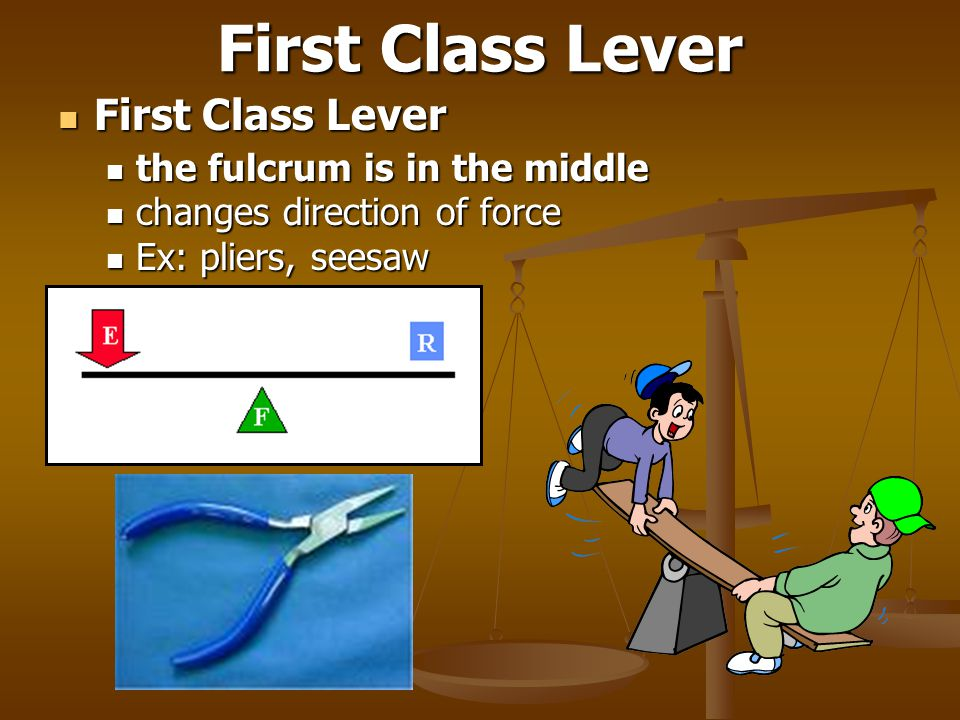 First Class Lever First Class Lever the fulcrum is in the middle