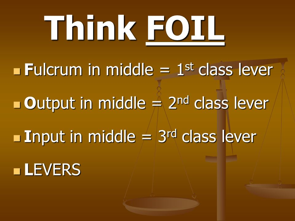 Think FOIL Fulcrum in middle = 1st class lever