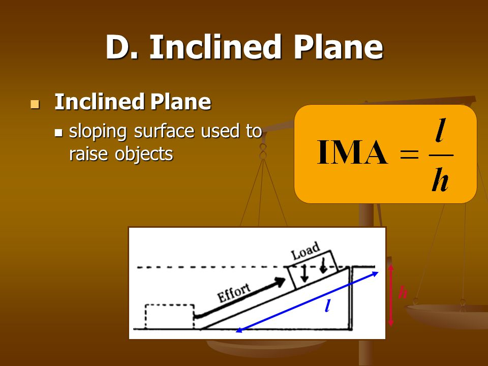 D. Inclined Plane Inclined Plane sloping surface used to raise objects