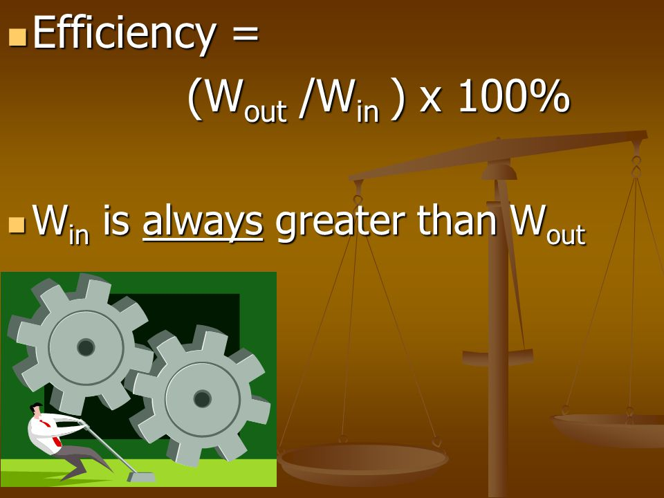 Efficiency = (Wout /Win ) x 100% Win is always greater than Wout