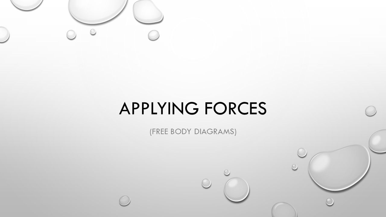 Applying Forces (Free body diagrams)