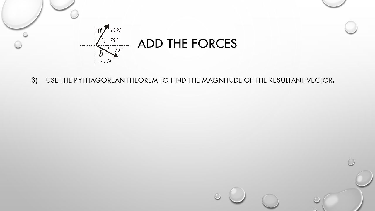 Add the forces 3) Use the Pythagorean theorem to find the magnitude of the resultant vector.