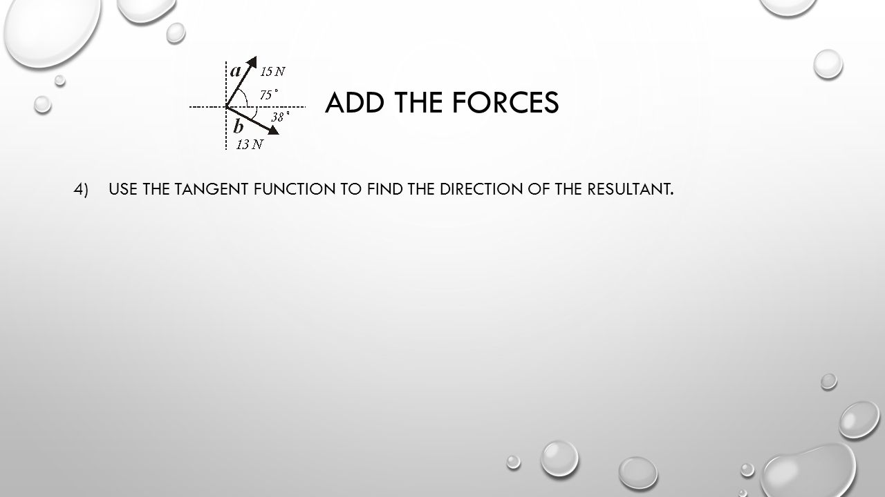 Add the forces 4) Use the tangent function to find the direction of the resultant.