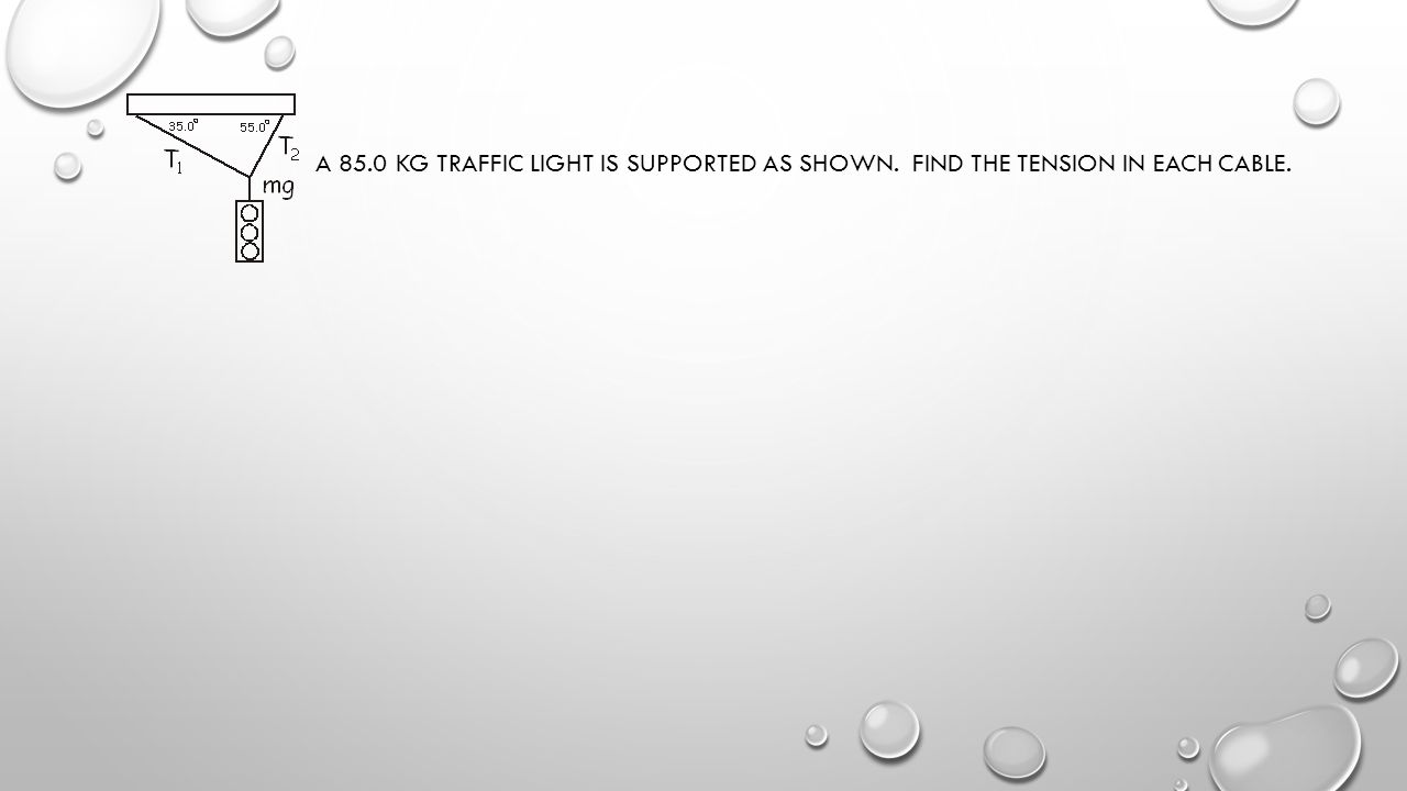 A 85. 0 kg traffic light is supported as shown