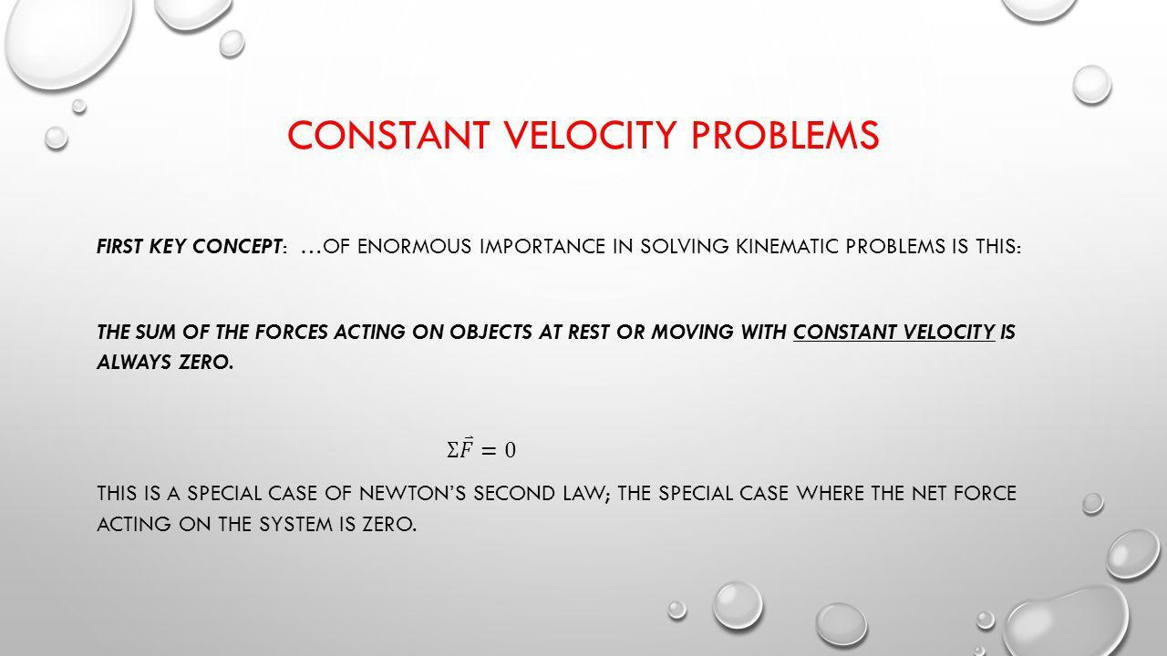 CONSTANT VELOCITY PROBLEMS