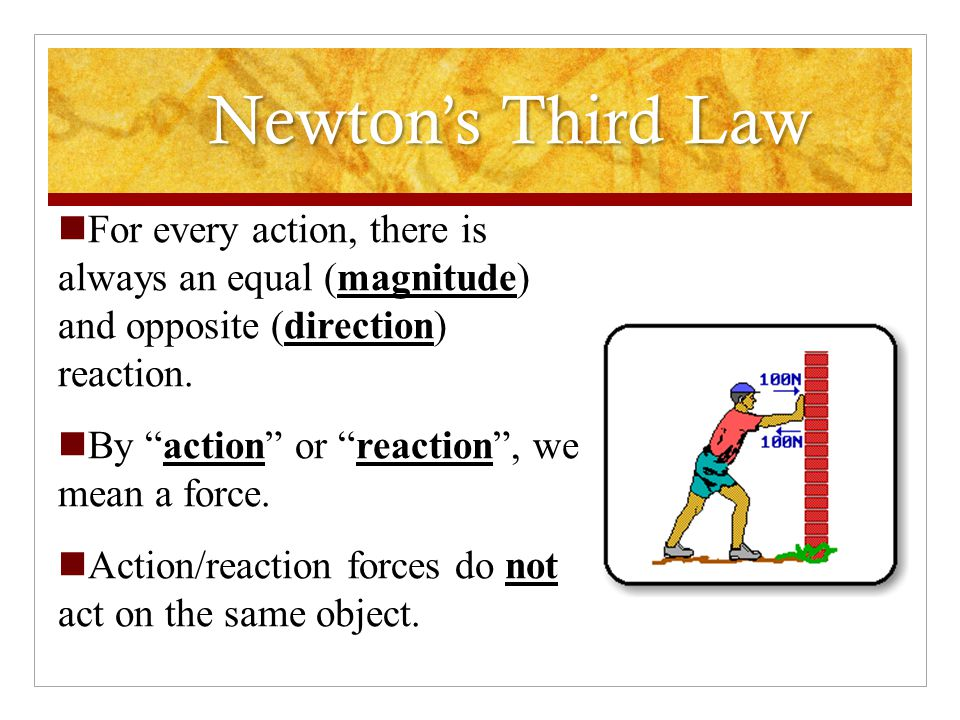 Newton's Third Law For every action, there is always an equal (magnitude) and opposite (direction) reaction.