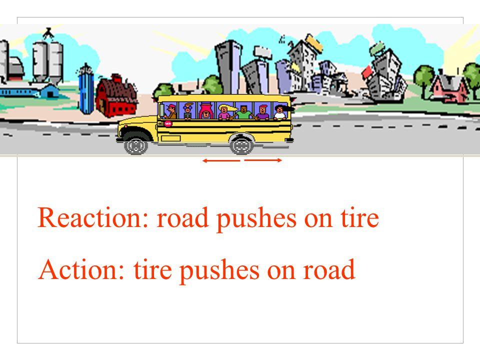 Reaction: road pushes on tire