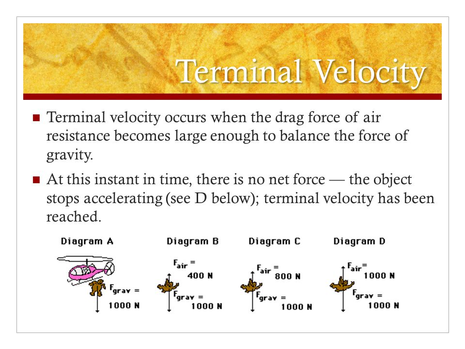 Terminal Velocity Terminal velocity occurs when the drag force of air resistance becomes large enough to balance the force of gravity.