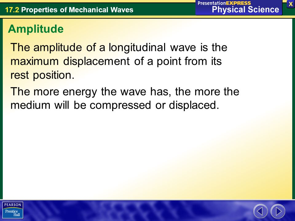 Amplitude The amplitude of a longitudinal wave is the maximum displacement of a point from its rest position.