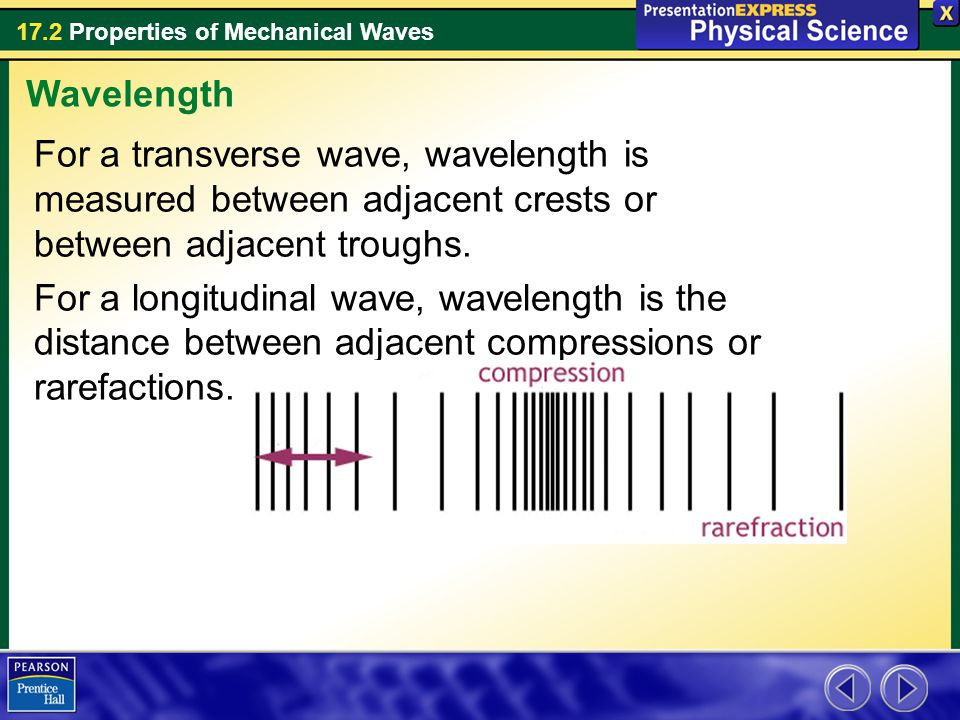 Wavelength For a transverse wave, wavelength is measured between adjacent crests or between adjacent troughs.