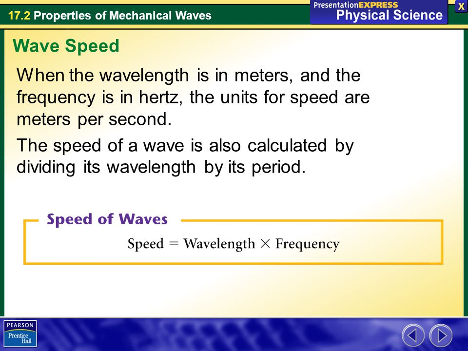 Wave Speed When the wavelength is in meters, and the frequency is in hertz, the units for speed are meters per second.