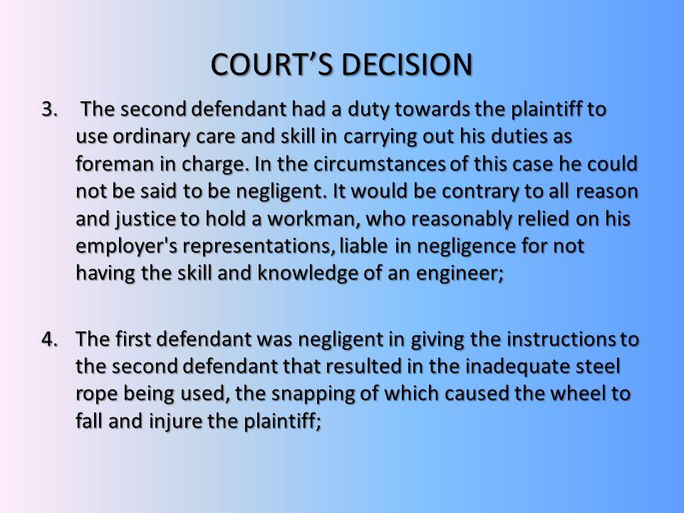 COURT'S DECISION