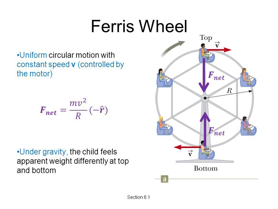 Ferris Wheel 𝑭 𝒏𝒆𝒕 𝑭 𝒏𝒆𝒕 = 𝑚 𝑣 2 𝑅 (− 𝒓 ) 𝑭 𝒏𝒆𝒕