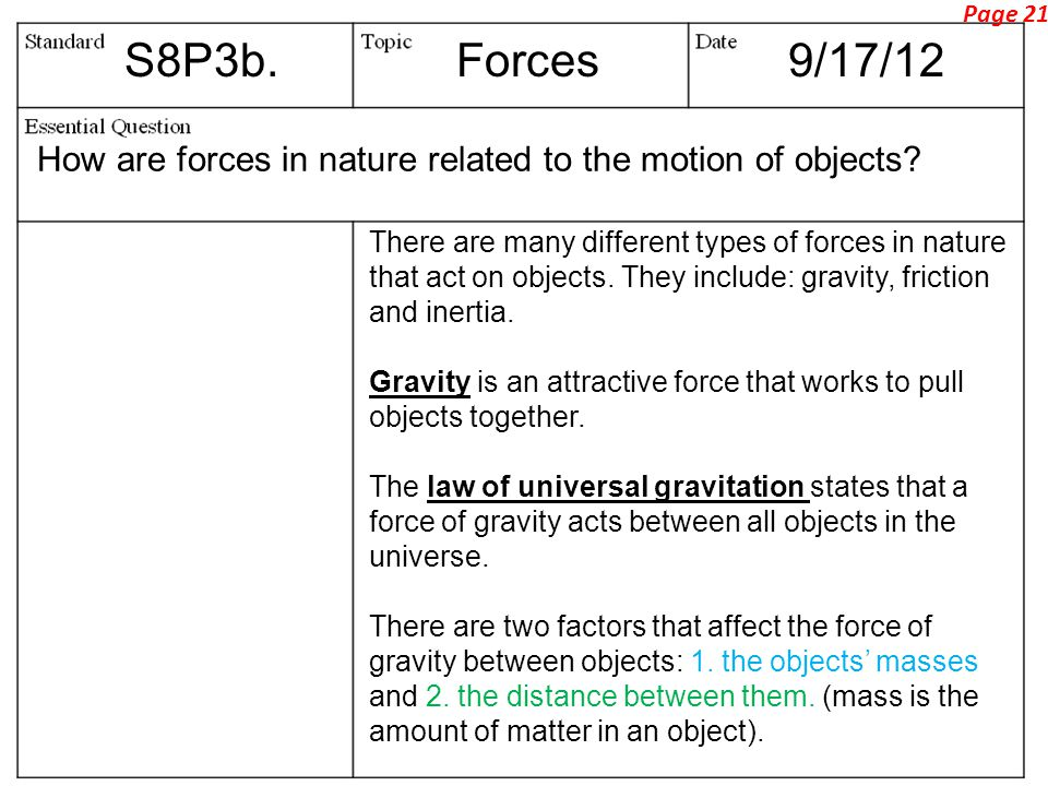 Page 21 S8P3b. Forces. 9/17/12. How are forces in nature related to the motion of objects