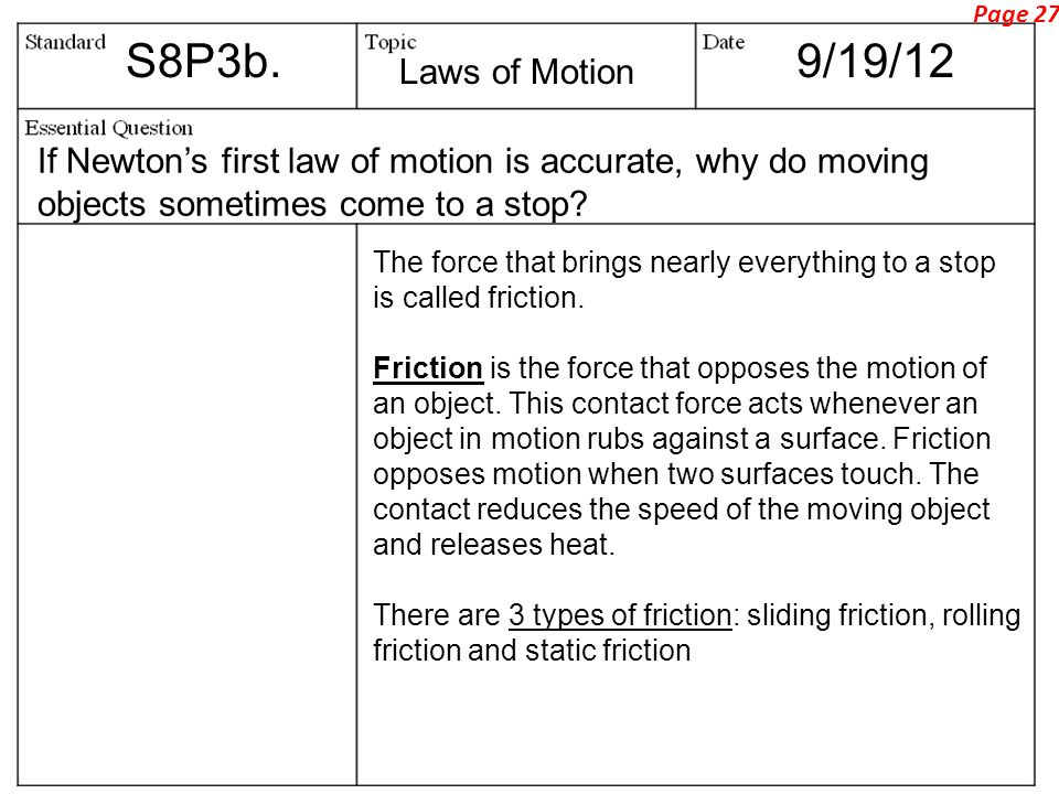 Page 27 S8P3b. 9/19/12. Laws of Motion. If Newton's first law of motion is accurate, why do moving objects sometimes come to a stop