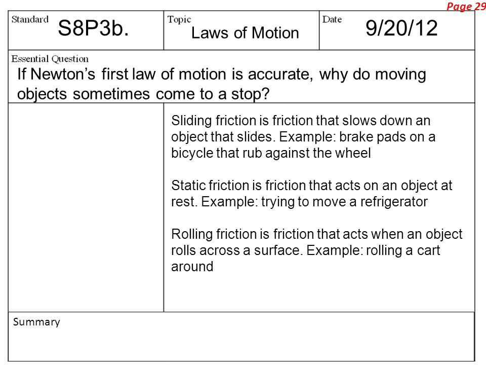 Page 29 S8P3b. 9/20/12. Laws of Motion. If Newton's first law of motion is accurate, why do moving objects sometimes come to a stop