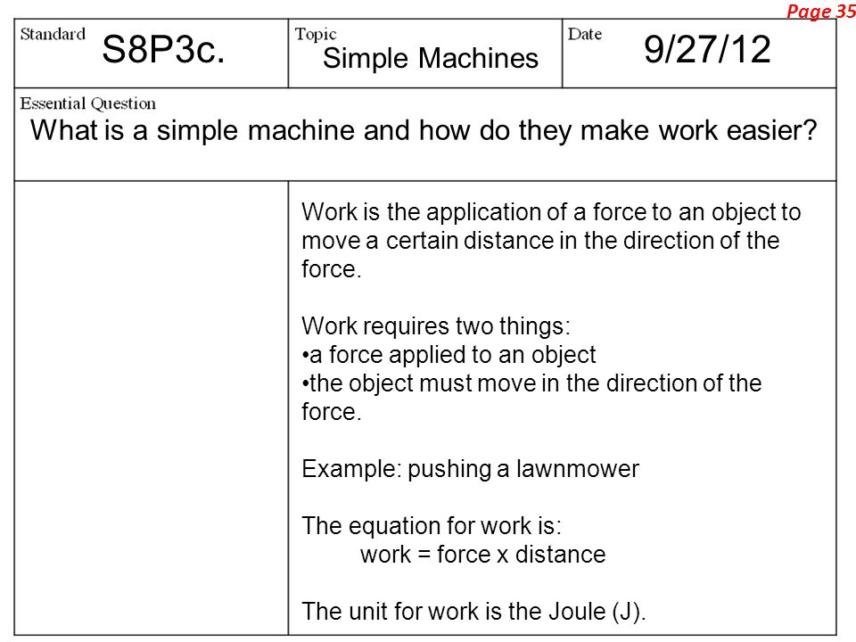 Page 35 S8P3c. 9/27/12. Simple Machines. What is a simple machine and how do they make work easier
