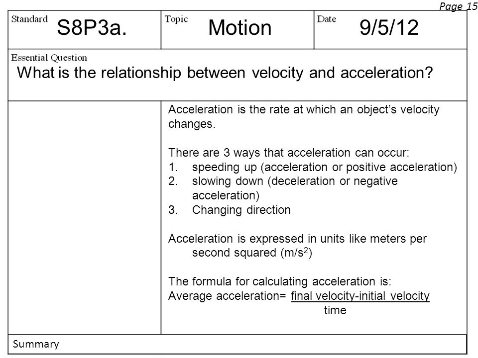 Page 15 S8P3a. Motion. 9/5/12. What is the relationship between velocity and acceleration