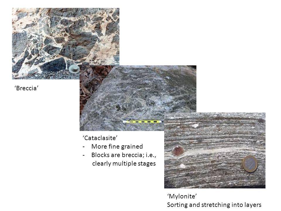 'Breccia' 'Cataclasite' More fine grained. Blocks are breccia; i.e., clearly multiple stages. 'Mylonite'