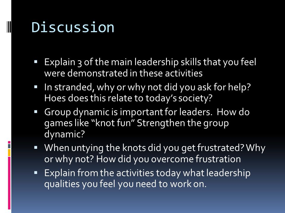 Discussion Explain 3 of the main leadership skills that you feel were demonstrated in these activities.
