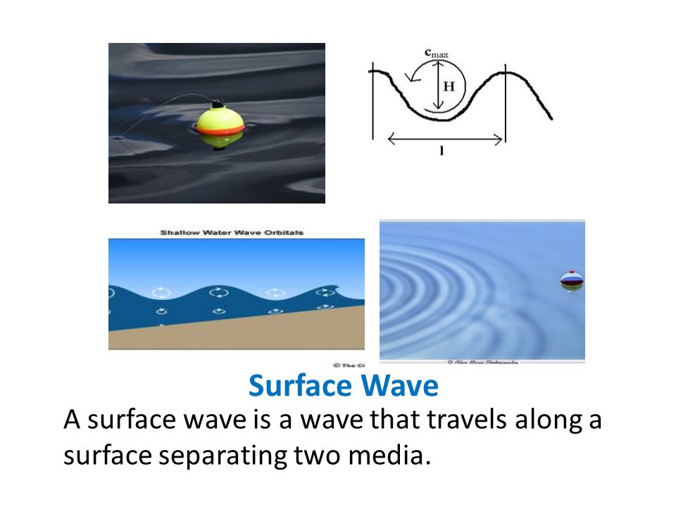 Surface Wave A surface wave is a wave that travels along a surface separating two media.