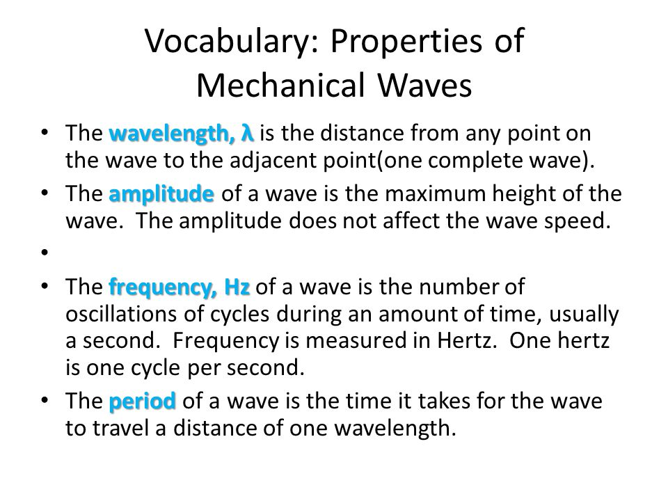 Vocabulary: Properties of Mechanical Waves