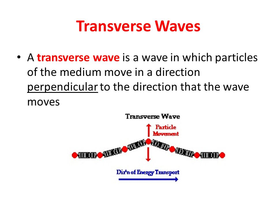 Transverse Waves A transverse wave is a wave in which particles of the medium move in a direction perpendicular to the direction that the wave moves.
