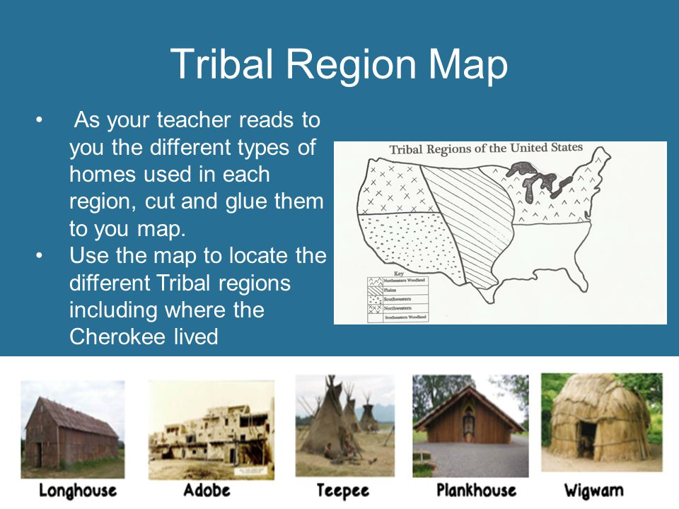 Tribal Region Map As your teacher reads to you the different types of homes used in each region, cut and glue them to you map.