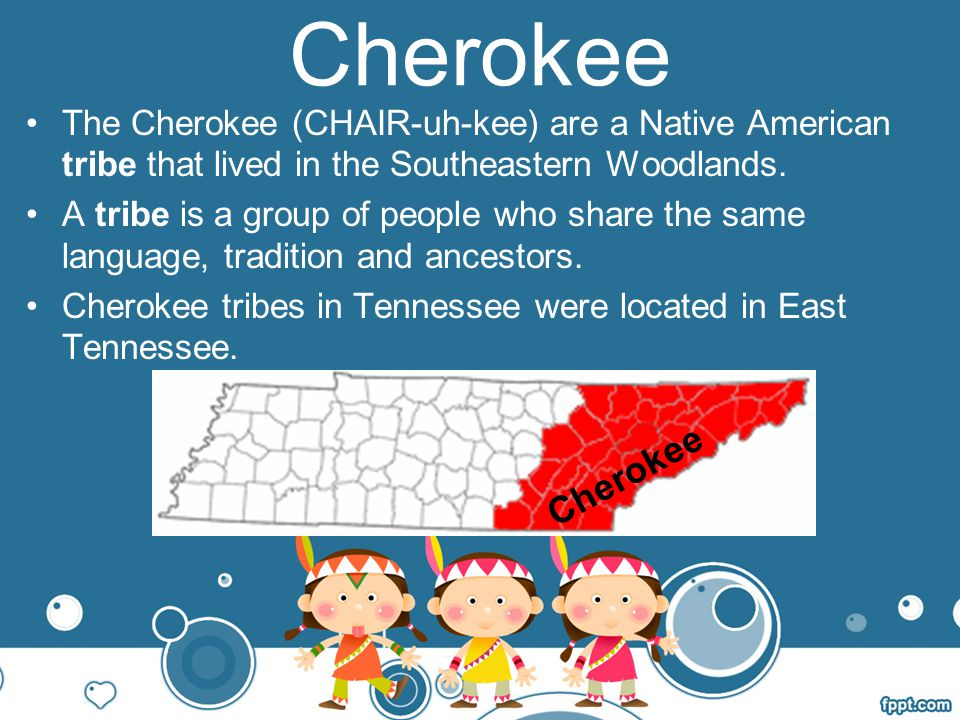 Cherokee The Cherokee (CHAIR-uh-kee) are a Native American tribe that lived in the Southeastern Woodlands.