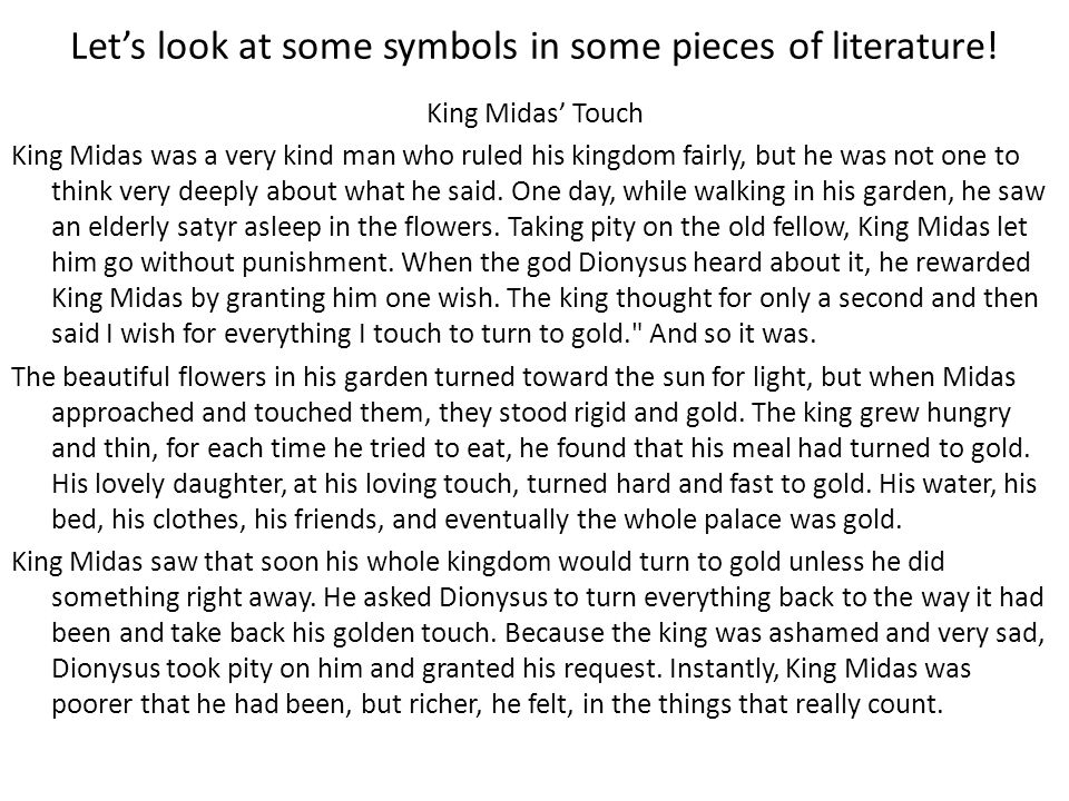 Let's look at some symbols in some pieces of literature!