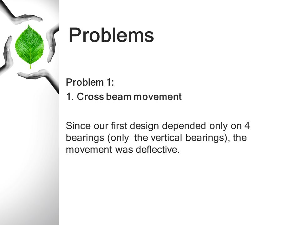 Problems Problem 1: 1. Cross beam movement