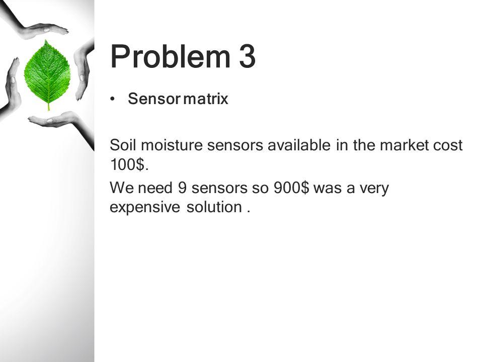 Problem 3 Sensor matrix. Soil moisture sensors available in the market cost 100$.