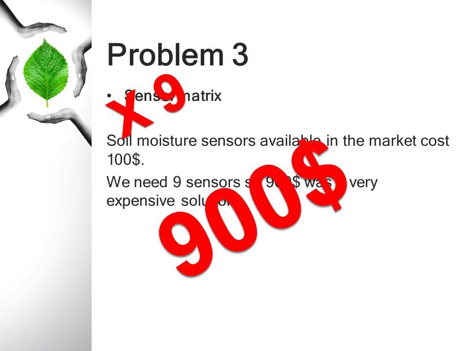 900$ X 9 Problem 3 Sensor matrix