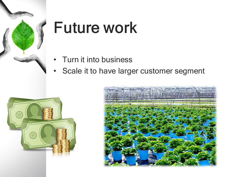 Future work Turn it into business