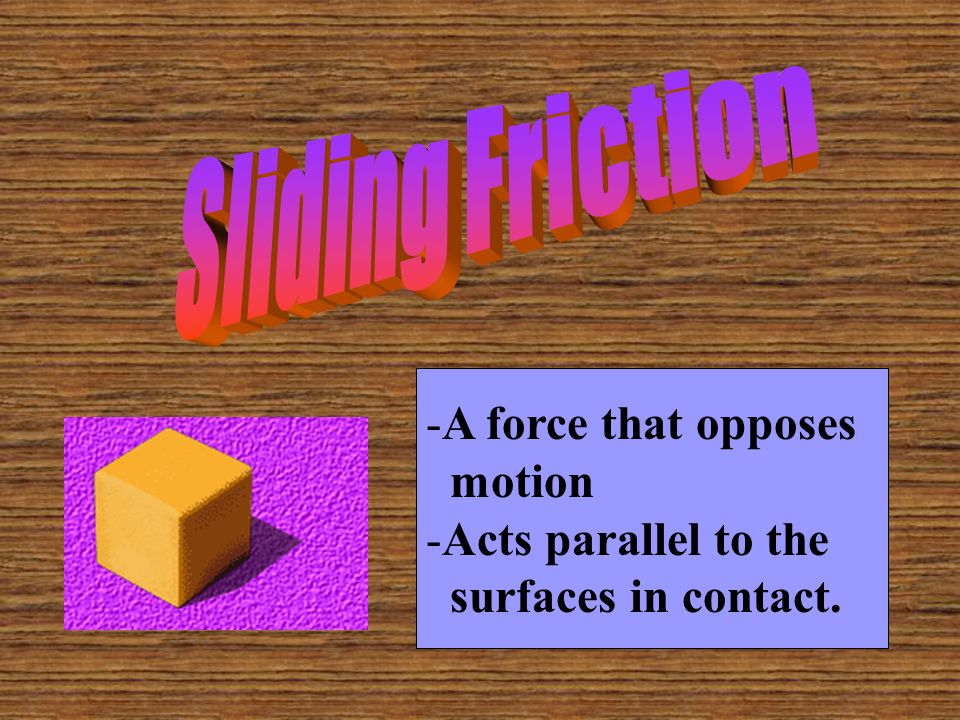 Sliding Friction A force that opposes motion Acts parallel to the surfaces in contact.