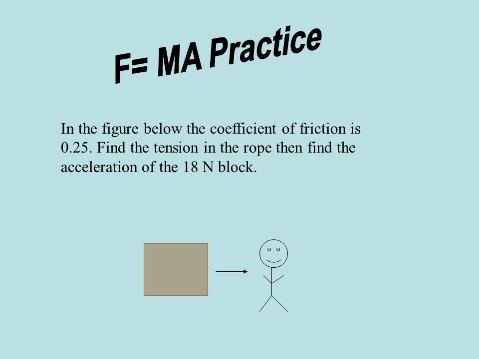 F= MA Practice In the figure below the coefficient of friction is 0.25.