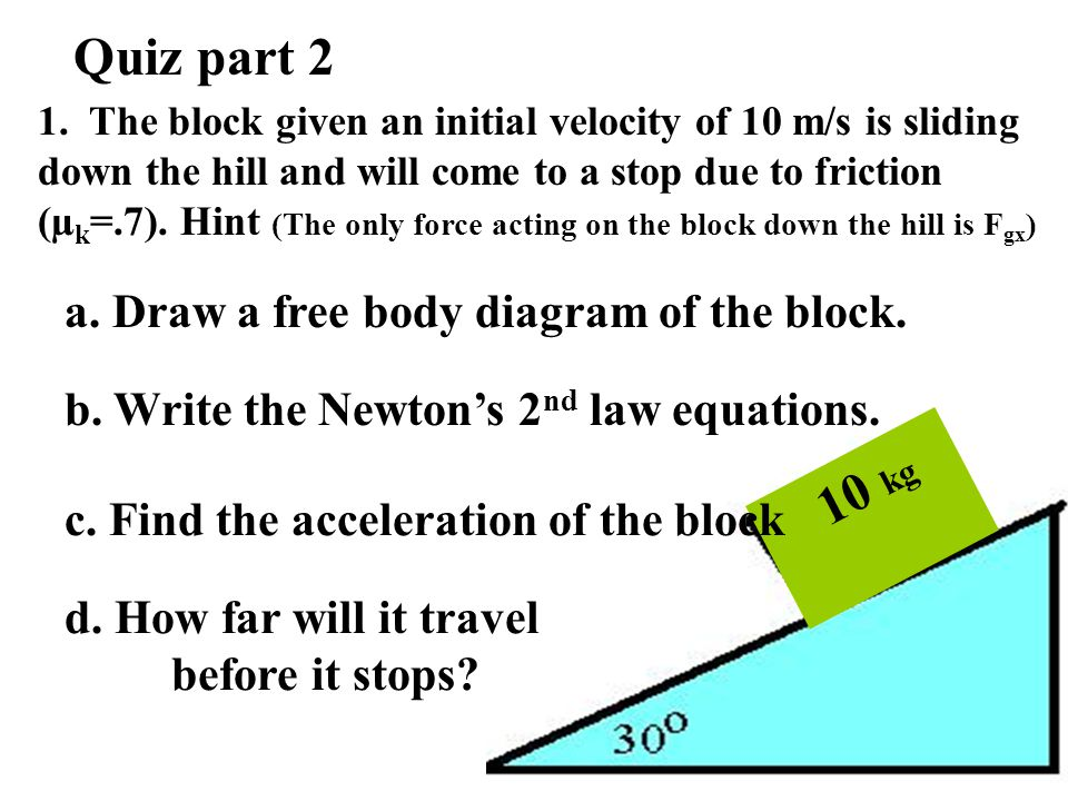 Quiz part 2 10 kg a. Draw a free body diagram of the block.